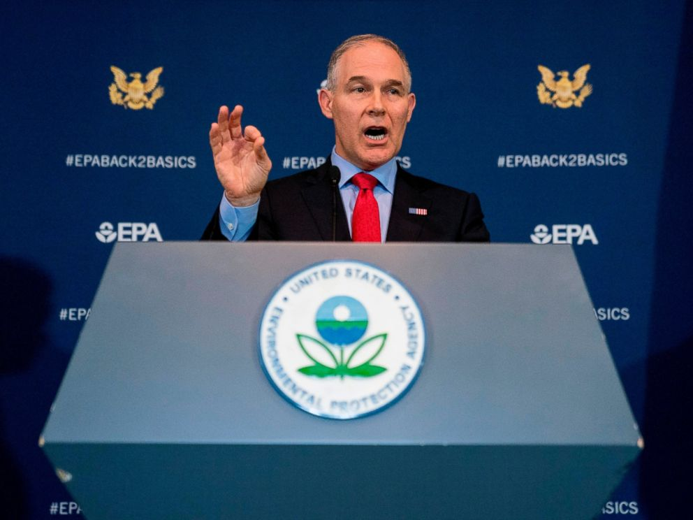 In this April 3, 2018, file photo, Environmental Protection Agency Administrator Scott Pruitt speaks at a news conference at the EPA in Washington.