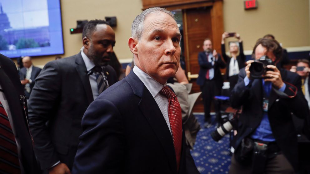Environmental Protection Agency Administrator Scott Pruitt leaves after testifying before the House Energy and Commerce subcommittee hearing on Capitol Hill in Washington, Thursday, April 26, 2018.