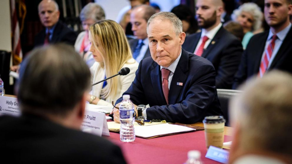 Scott Pruitt, administrator of the Environmental Protection Agency, testifies before the House Interior, Environment and Related Agencies Appropriations subcommittee on Capitol Hill in Washington, April 26, 2018.