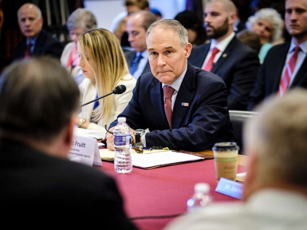 PHOTO: Scott Pruitt, administrator of the Environmental Protection Agency, testifies before the House Interior, Environment and Related Agencies Appropriations subcommittee on Capitol Hill in Washington, April 26, 2018.