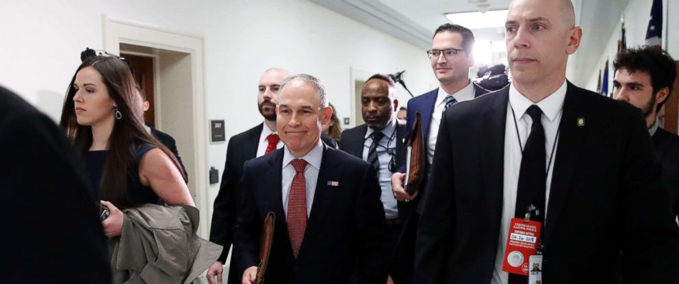 PHOTO: Environmental Protection Agency Administrator Scott Pruitt walks with his security detail to testify on Capitol Hill, April 26, 2018 in Washington.