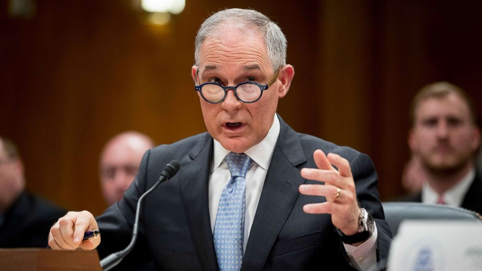 Environmental Protection Agency Administrator Scott Pruitt testifies before a Senate Appropriations subcommittee on the Interior, Environment, and Related Agencies on budget on Capitol Hill in Washington, May 16, 2018.