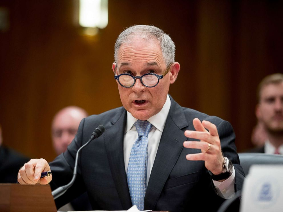 PHOTO: Environmental Protection Agency Administrator Scott Pruitt testifies before a Senate Appropriations subcommittee on the Interior, Environment, and Related Agencies on budget on Capitol Hill in Washington, May 16, 2018.