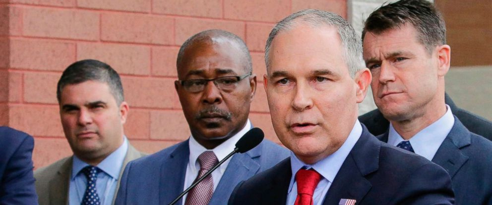 "PHOTO: In this April 19, 2017, file photo, Environmental Protection Agency Administrator Scott Pruitt speaks at a news conference with Pasquale ""Nino"" Perrotta, left, in East Chicago, Ind."