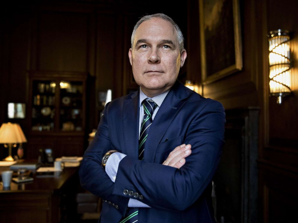 PHOTO: EPA Administrator Scott Pruitt poses for a portrait in his office at the EPA headquarters in Washington, Oct. 25, 2017.