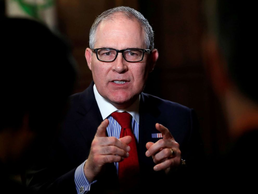 PHOTO: Environmental Protection Agency Administrator Scott Pruitt speaks during an interview with Reuters journalists in Washington, Jan. 9, 2018.