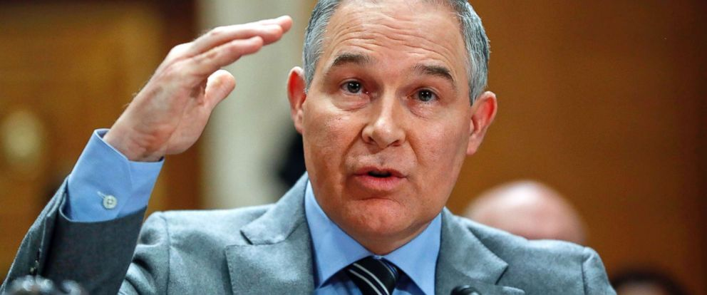 PHOTO: Scott Pruitt, Environmental Protection Agency Administrator, testifies before the Senate Environment Committee on Capitol Hill in Washington, Jan. 30, 2018.