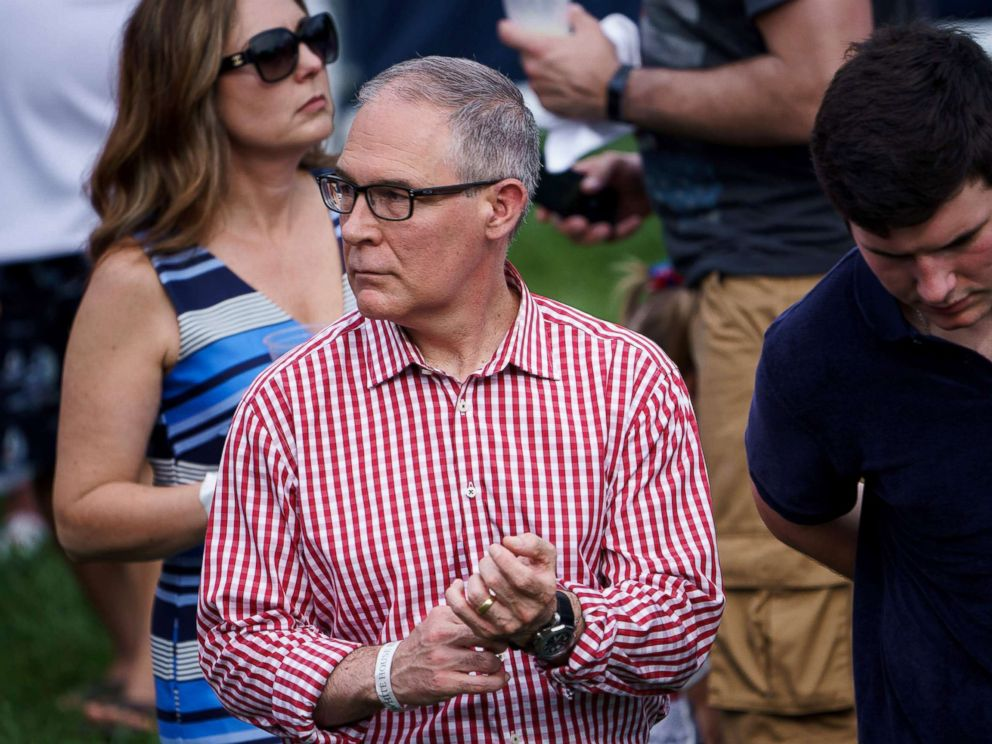 PHOTO: Environmental Protection Agency Administrator Scott Pruitt attends an Independence Day picnic for military families on the South Lawn of the White House July 4, 2018 in Washington.