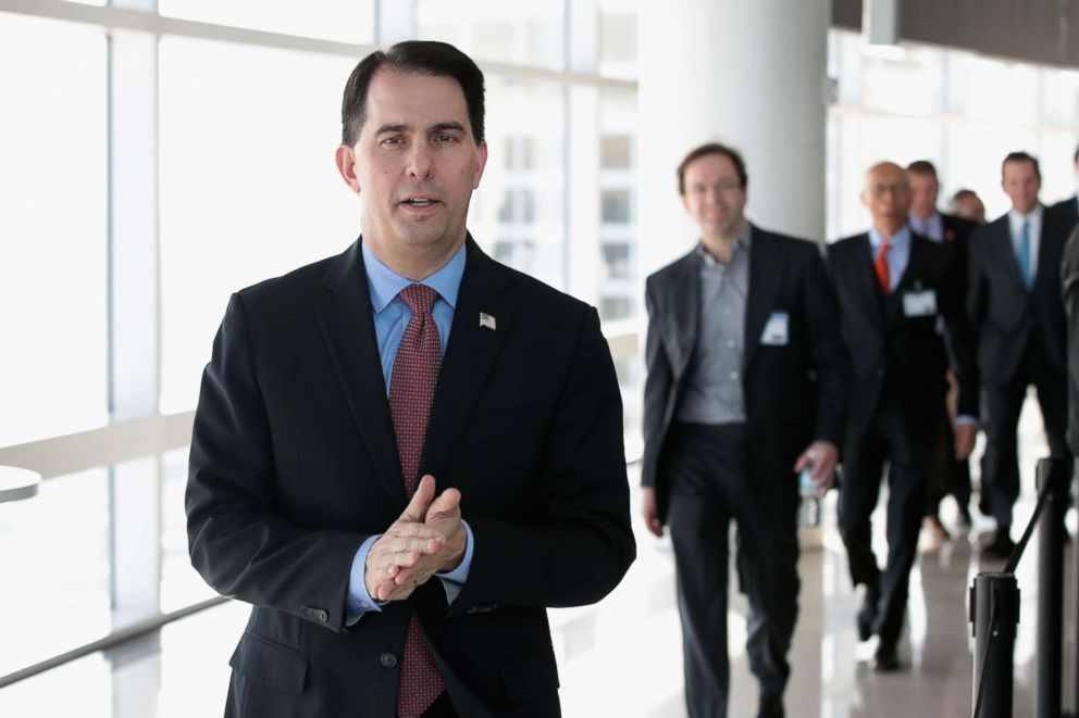 PHOTO: Wisconsin Governor Scott Walker arrives at an event in Milwaukee, Feb. 6, 2018.