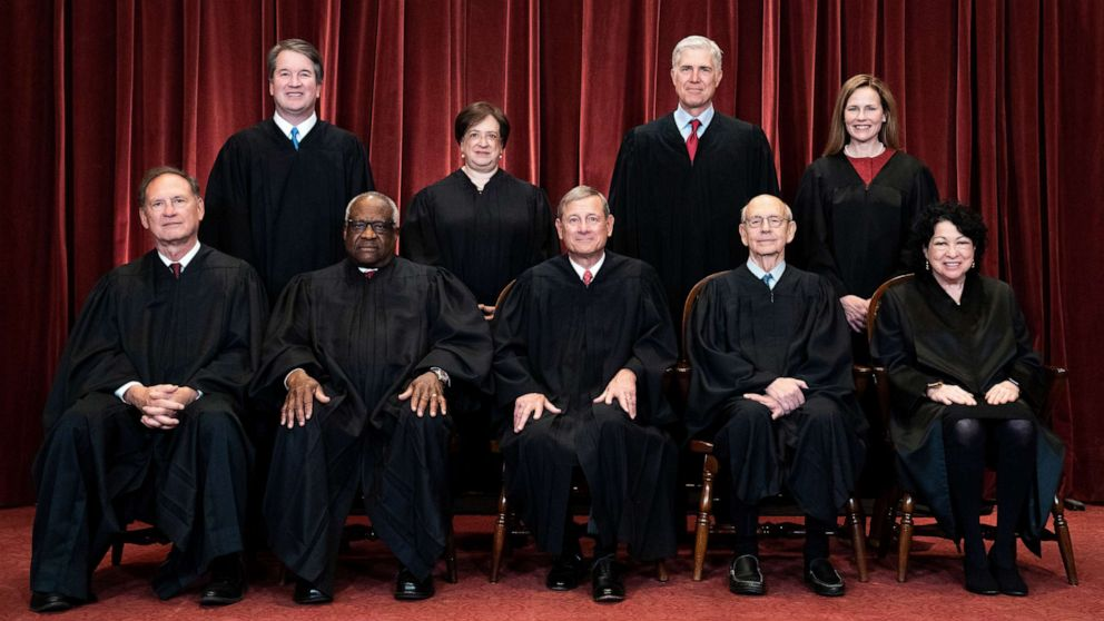 PHOTO: Members of the Supreme Court pose for a group photo at the Supreme Court in Washington, D.C., April 23, 2021.