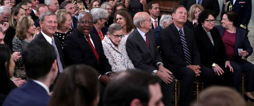 PHOTO: Supreme Court Chief Justice John Roberts, Associate Justices Clarence Thomas, Ruth Bader Ginsburg, Stephen Breyer, Samuel Alito, Sonia Sotomayor and Elena Kagan attend the swearing in of Associate Justice Brett Kavanaugh, Washington, Oct. 08, 2018.