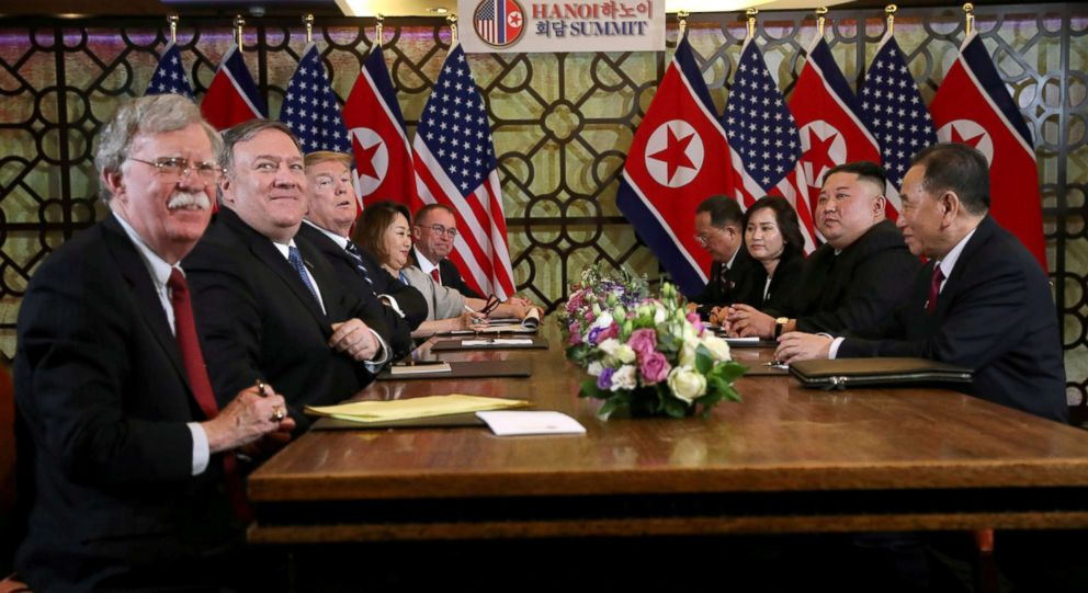 PHOTO: North Koreas leader Kim Jong Un and President Donald Trump meet along with Secretary of State Mike Pompeo, White House national security adviser John Bolton, right, during the second North Korea-U.S. summit in Hanoi, Vietnam, Feb. 28, 2019.