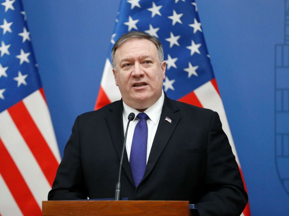 PHOTO: Secretary of State Mike Pompeo speaks at the foreign ministry in Budapest, Hungary, Feb. 11, 2019.