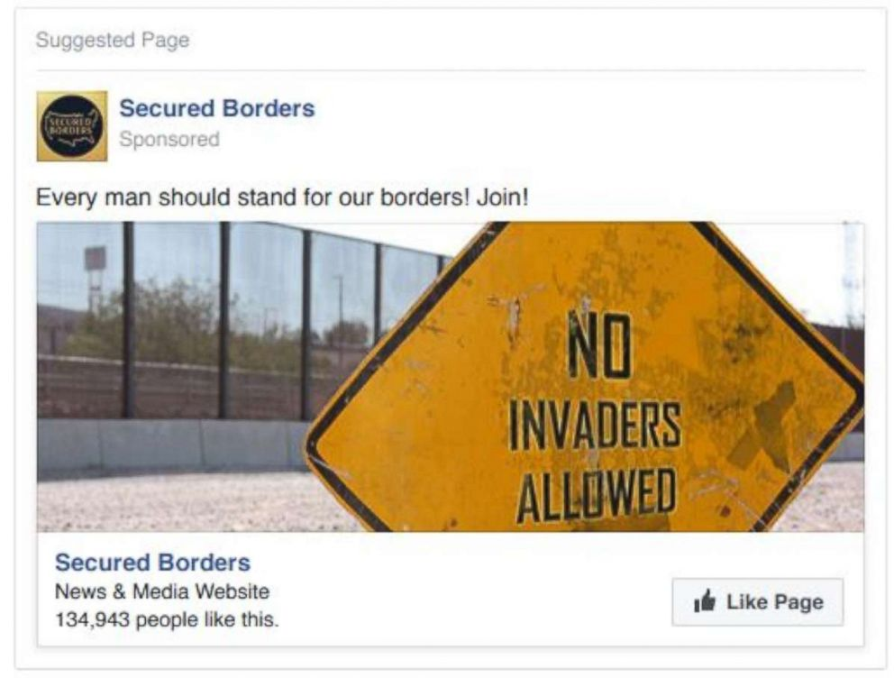 PHOTO: A screenshot of the Facebook account Secured Borders released by the House Intelligence Committee in November and cited in an indictment filed Friday that charges Russian individuals and companies pretended to be political groups in the U.S.