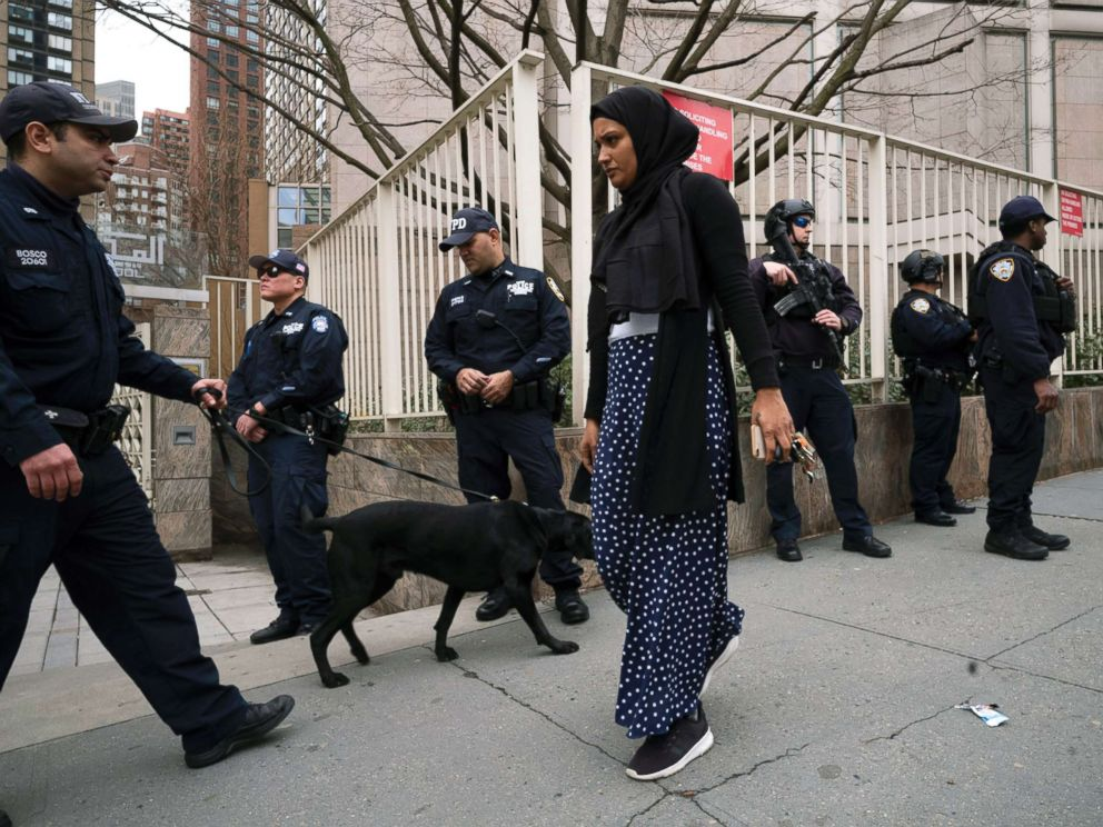 PHOTO: A woman arrives for service at the Islamic Cultural Center of New York under increased police security following the shooting in New Zealand, March 15, 2019, in New York.