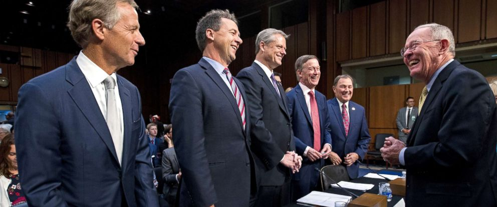PHOTO: Governors Bill Haslam, Steve Bullock, Charlie Baker, John Hickenlooper and Gary Herbert are greeted by Senate Health, Education, Labor, and Pensions Committee Chairman Sen. Lamar Alexander during a hearing on Capitol Hill, Sept. 7, 2017.