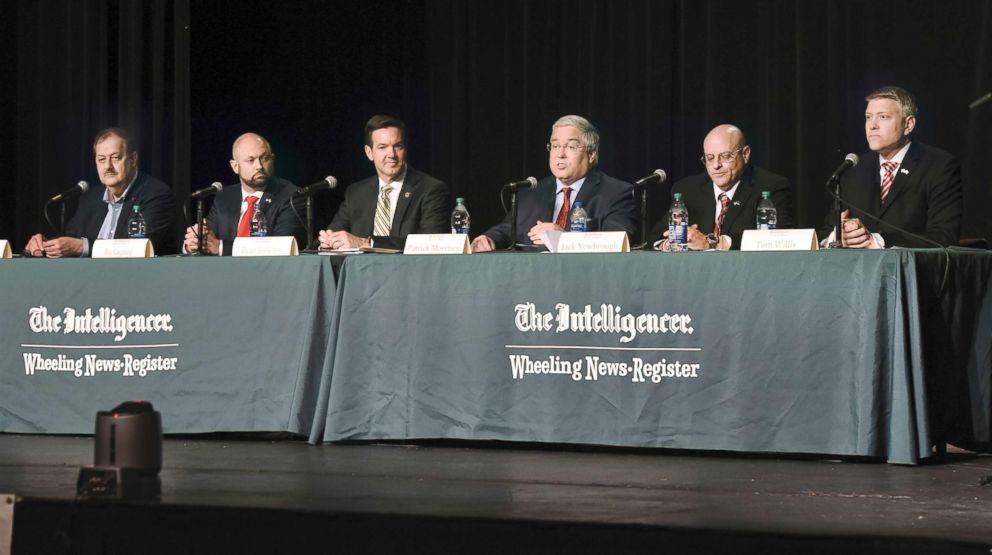 PHOTO: Don Blankenship, Bo Copley, U.S. Rep. Evan Jenkins, W.V. Attorney General Patrick Morrisey, Jack Newbrough and Tom Willis, participate in a debate at Wheeling Jesuit University in Wheeling, W.Va., April 23, 2018.