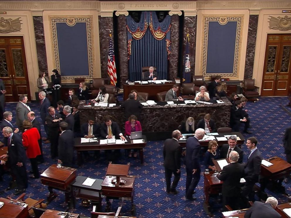 PHOTO: In this image made from video, members vote on a temporary funding measure to end the government shutdown on the floor of the U.S. Senate in Washington, Jan. 22, 2018.