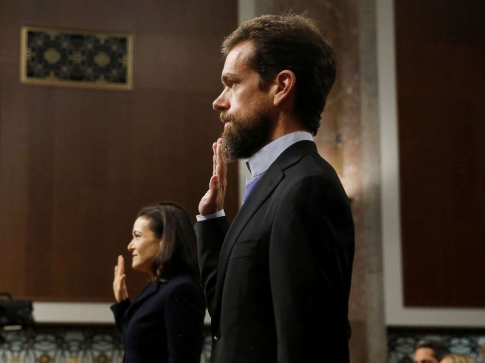 PHOTO: Twitter CEO Jack Dorsey and Facebook COO Sheryl Sandberg are sworn in to testify before a Senate Intelligence Committee hearing on foreign influence operations on social media platforms on Capitol Hill, Sept. 5, 2018.