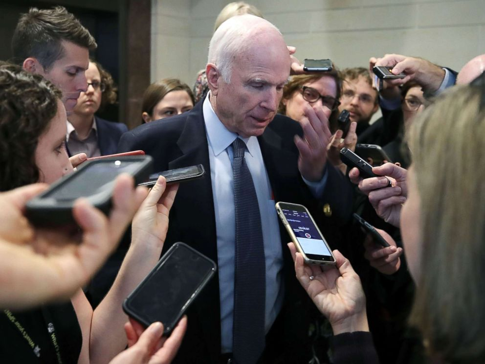 PHOTO: Senate Armed Services Committee Chairman John McCain speaks to reporters inside the Capitol on Oct. 26, 2017 in Washington.