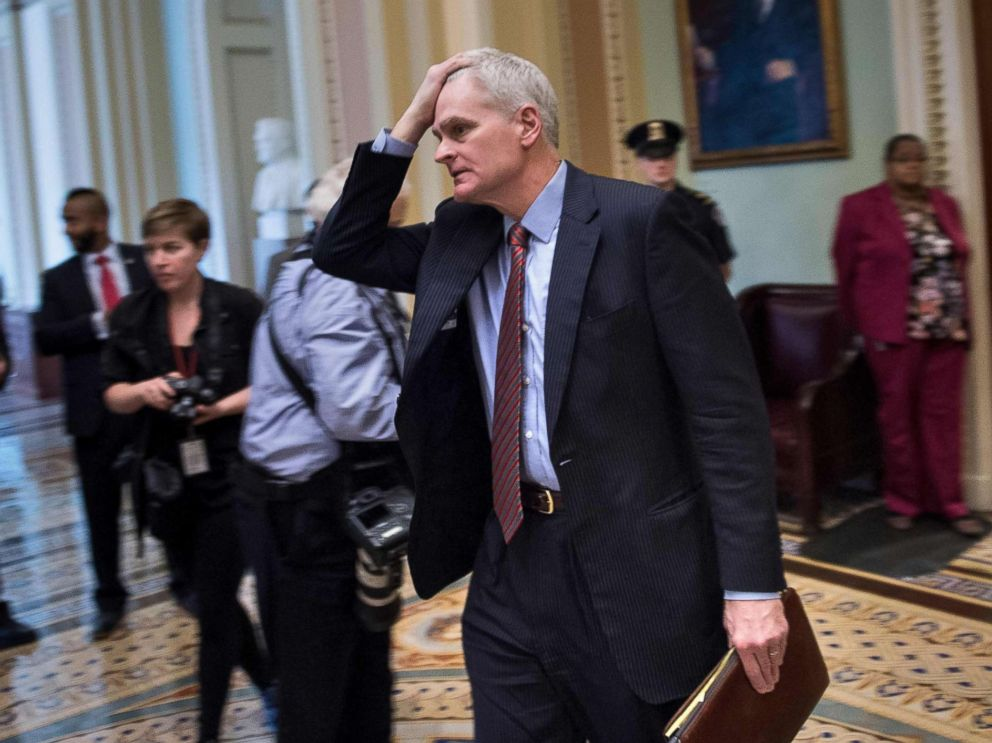 PHOTO: Senator Bill Cassidy leaves the Senate floor on Capitol Hill after the Senate voted to fund the US government, Jan. 22, 2018, in Washington.