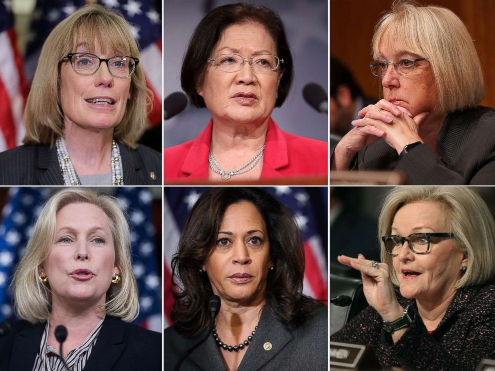 PHOTO: A combination photo showing, top row from left: Sen. Maggie Hassan (D-NH), Sen. Mazie Hirono (D-HI), Sen. Patty Murray (D-WA). Bottom row from left: Sen. Kirsten Gillibrand (D-N.Y.), Sen. Kamala Harris (D-CA), Sen. Claire McCaskill (D-MO).