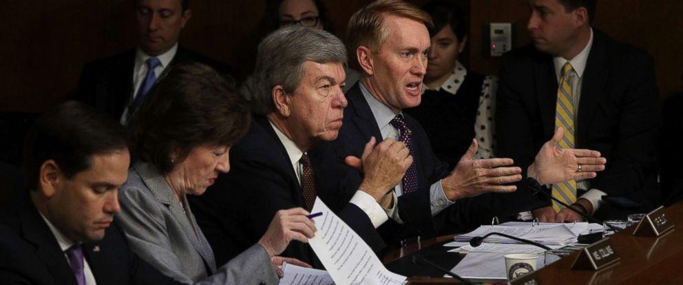 """PHOTO: From right, Sen. James Lankford speaks as Sen. Roy Blunt, Sen. Susan Collins and Sen. Marco Rubio listen during a hearing, Nov. 1, 2017, in Washington, D.C.. on """"Social Media Influence in the 2016 U.S. Elections."""""""