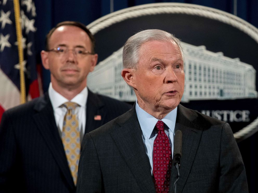 PHOTO: Attorney General Jeff Sessions accompanied by Deputy Attorney General Rod Rosenstein, left, speaks at a news conference at the Department of Justice, July 20, 2017, in Washington D.C.