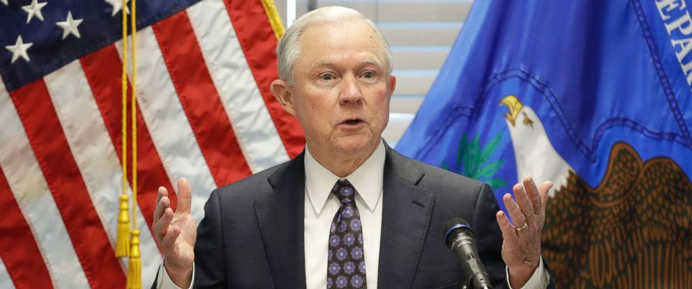 PHOTO: Attorney General Jeff Sessions speaks to federal, state and local law enforcement officials about sanctuary cities and efforts to combat violent crime, in Las Vegas, July 12, 2017.