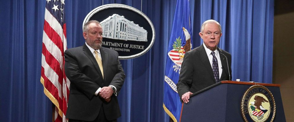 PHOTO: U.S. Attorney General Jeff Sessions speaks during a news conference at the Justice Department Nov. 29, 2017 in Washington, D.C., as Acting DEA Administrator Robert W. Patterson listens.