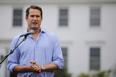 PHOTO: Congressman Seth Moulton speaks at a Merrimack County Democrats Summer Social at the Swett home in Bow, New Hampshire, July 28, 2018.