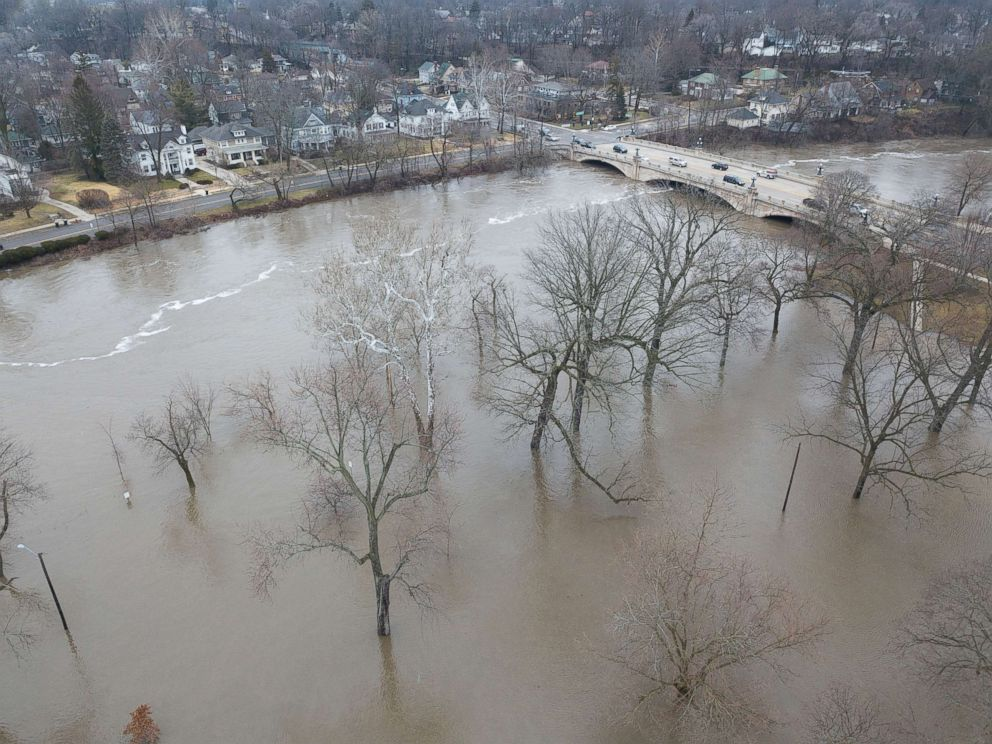 PHOTO: In this drone image, the St. Joseph River has overflowed its banks and has flooded Leeper Park, Feb. 21, 2018, in South Bend, Ind.