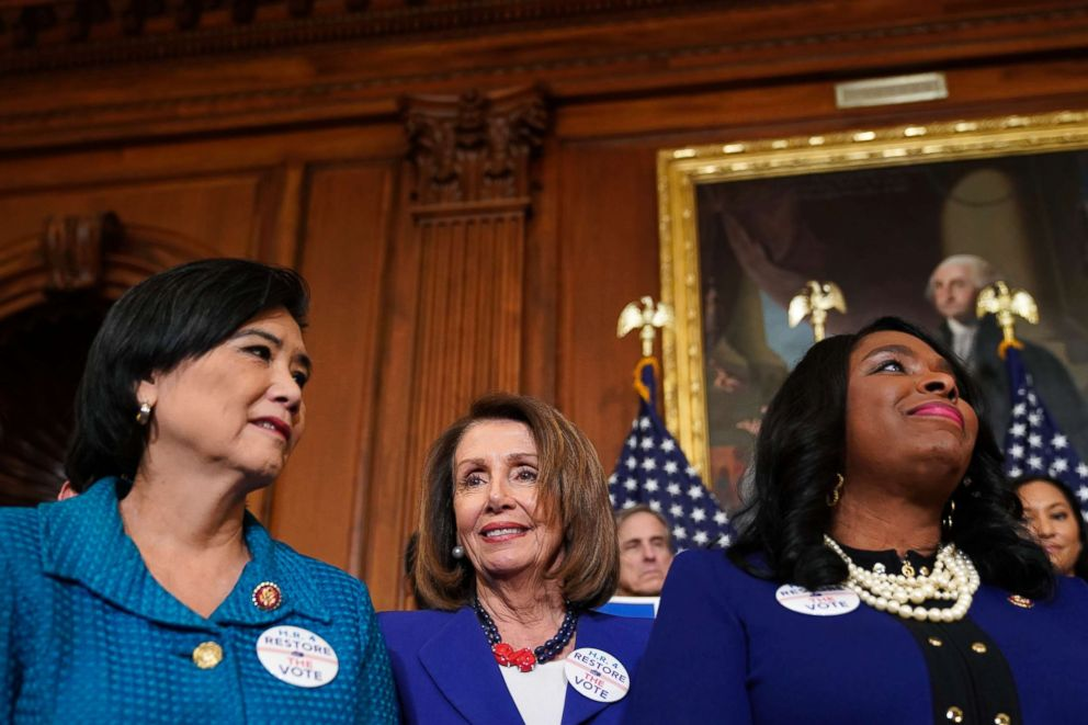 Speaker of the House Nancy Pelosi (D-CA) stands with Rep. Judy Chu (D-CA) and Rep. Terri Sewell (D-AL) as lawmakers speak about the Voting Rights Enhancement Act, H.R. 4, on Capitol Hill, Feb. 26, 2019.
