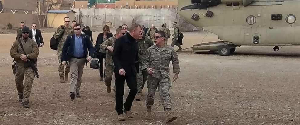 PHOTO: Acting Defense Secretary Patrick Shanahan, in front wearing black, arrives in Kabul on Feb, 11, 2019.