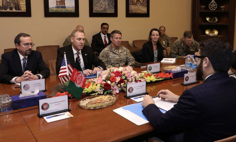 PHOTO: From left, U.S. Ambassador to Afghanistan John Bass, acting Defense Secretary Patrick Shanahan, and General Scott Miller, center right, meet with Afghan National Security Adviser Hamdullah Mohib, right, in Kabul, Afghanistan, Feb. 11, 2019.