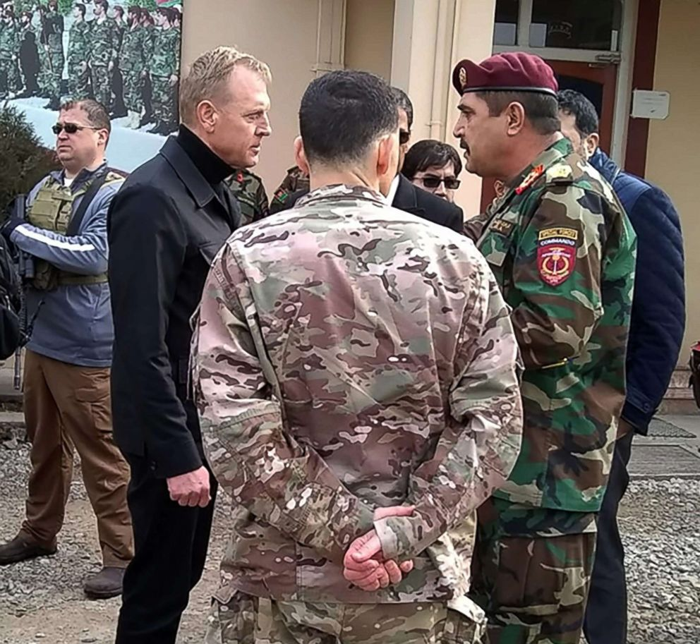 PHOTO: Acting Defense Secretary Patrick Shanahan, front left, speaks with Afghan general Besmellah Waziri, right, commander of the Afghan National Army Special Operations Command (ANASOC), at Camp Commando, near Kabul, Feb. 11, 2019.
