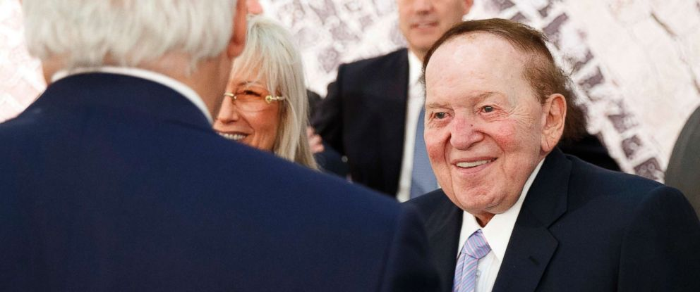 PHOTO: Sheldon Adelson right, talks with Secretary of State Rex Tillerson, before a speech by President Donald Trump at the Israel Museum in Jerusalem, May 23, 2017.
