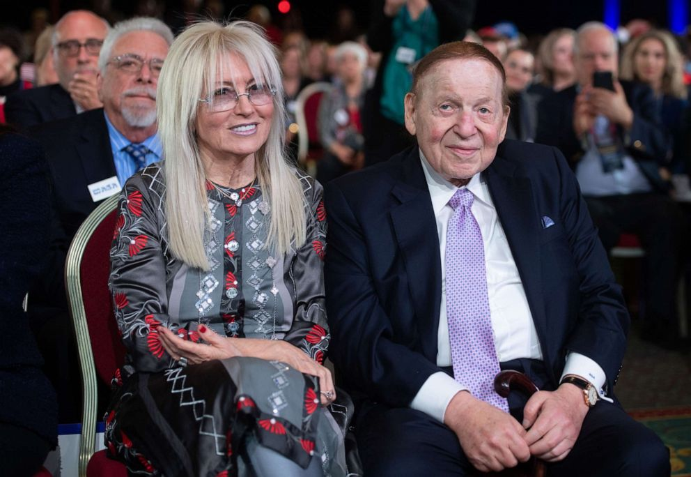 PHOTO: Las Vegas Sands Corp. Chairman and CEO Sheldon Adelson and his wife Miriam arrive prior to a speech by US President Donald Trump during the Republican Jewish Coalition 2019 Annual Leadership Meeting in Las Vegas, April 6, 2019.