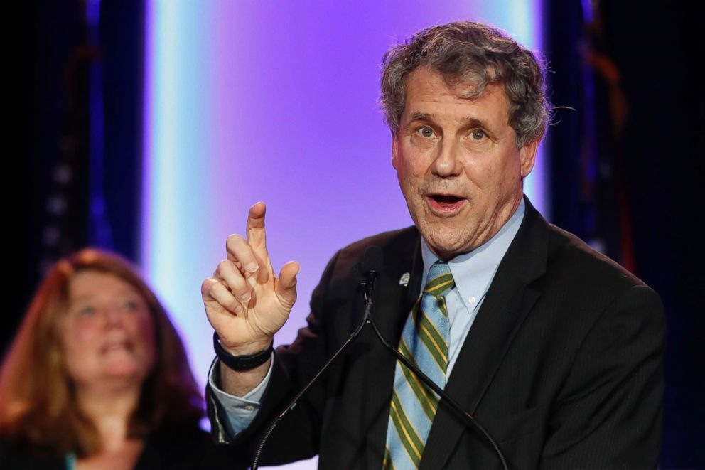 PHOTO: Sen. Sherrod Brown, D-Ohio, right, speaks alongside his wife Connie Schultz, left, during the Ohio Democratic Party election night watch party, Nov. 6, 2018, in Columbus, Ohio.