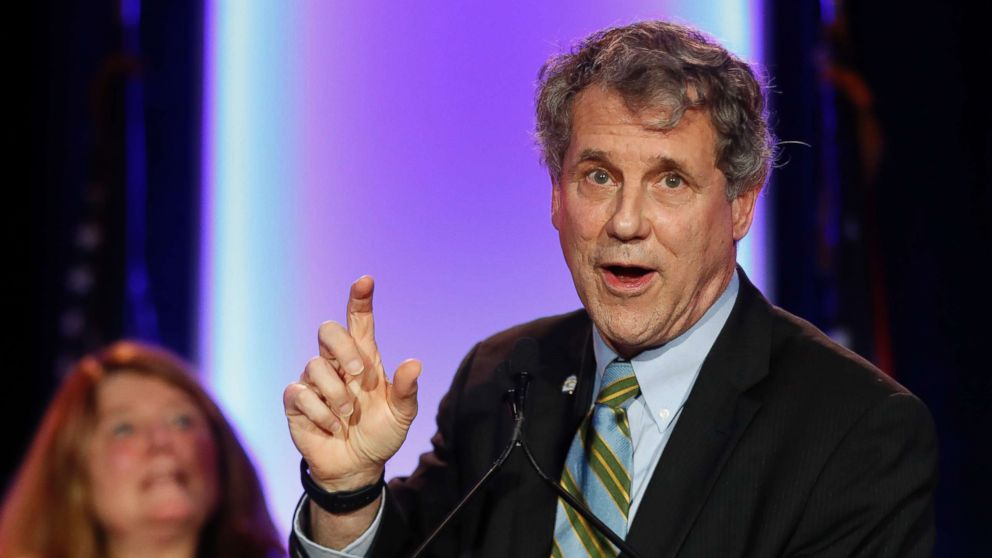 Sen. Sherrod Brown, D-Ohio, right, speaks alongside his wife Connie Schultz, left, during the Ohio Democratic Party election night watch party, Nov. 6, 2018, in Columbus, Ohio.