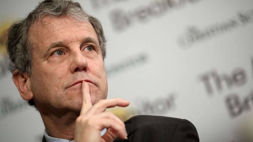Sen. Sherrod Brown answers questions during a breakfast roundtable, Feb. 12, 2019, in Washington, DC.