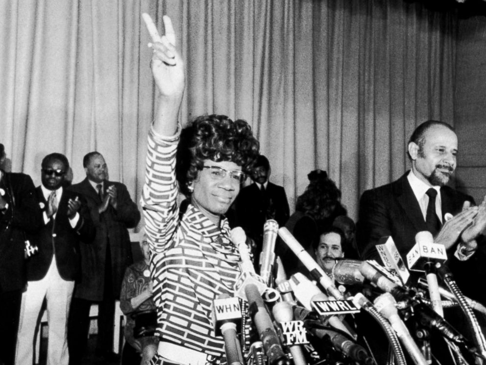 PHOTO: US Representative Shirley Chisholm of Brooklyn announces her entry for Democratic nomination for the presidency, at the Concord Baptist Church in Brooklyn, New York, Jan. 25, 1972.