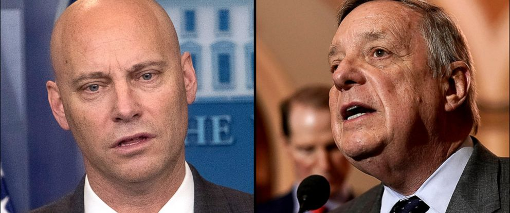 PHOTO: White House Director of Legislative Affairs Marc Short, and U.S. Senate Minority Whip Sen. Dick Durbin.