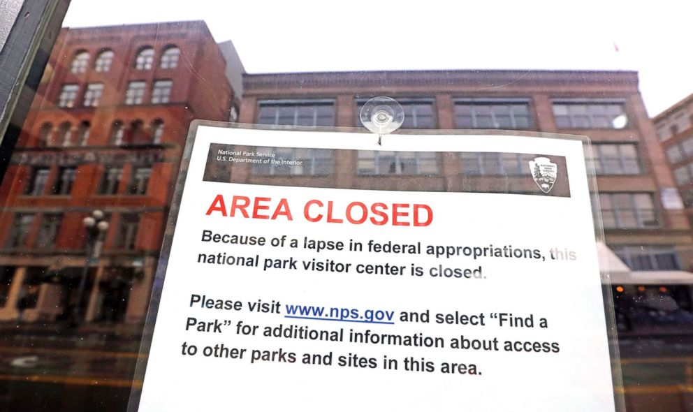 PHOTO: The tiny Klondike Gold Rush National Historical Park in Seattles historic Pioneer Square neighborhood is posted with a closed sign as part of the federal government shutdown, Dec. 26, 2018.