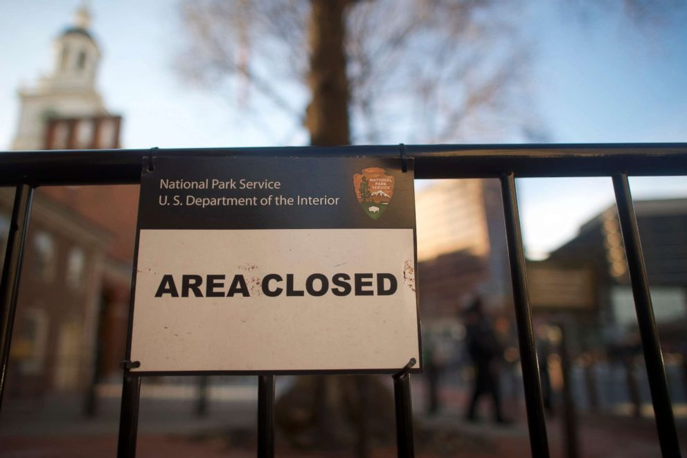 A closed sign is posted in front of the shuttered Independence Hall after the government shutdown, Jan. 20, 2018 in Philadelphia, Pa.
