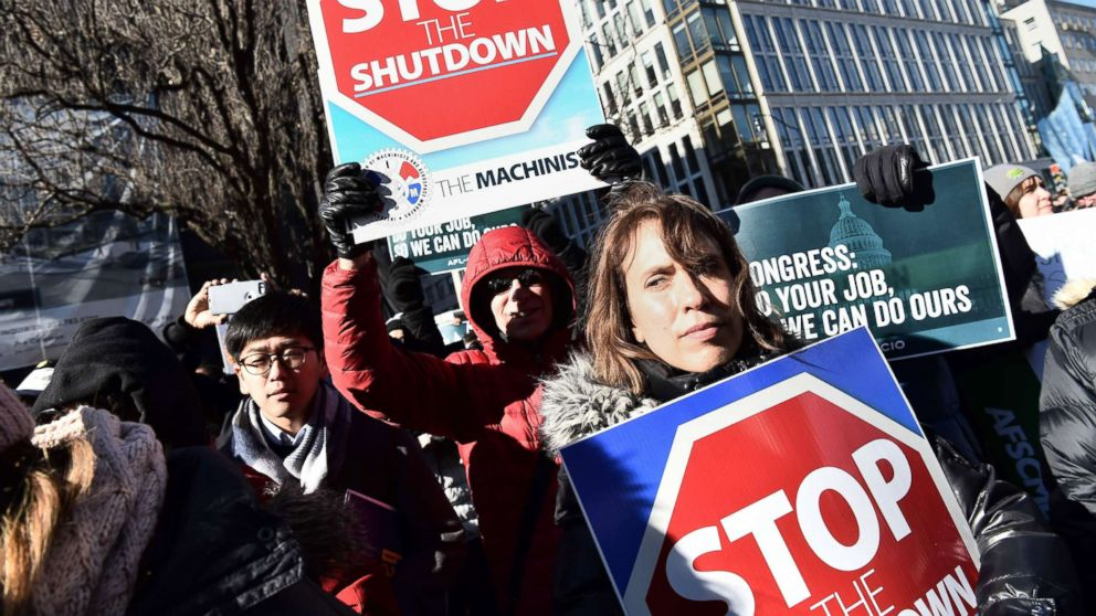 Union workers demonstrate against the government shutdown, Jan. 10, 2019, in Washington, D.C.
