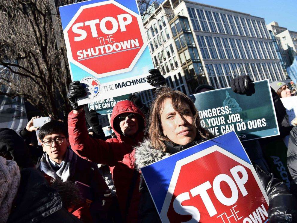 PHOTO: Union workers demonstrate against the government shutdown, Jan. 10, 2019, in Washington, D.C.