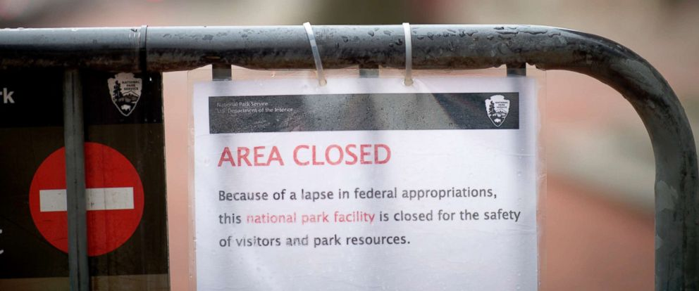 "PHOTO: A sign stating ""AREA CLOSED Because of a lapse in federal appropriations this national park facility is closed for the safety of visitors and park resources"" is posted in front of Independence Hall, Jan. 8, 2019, in Philadelphia."