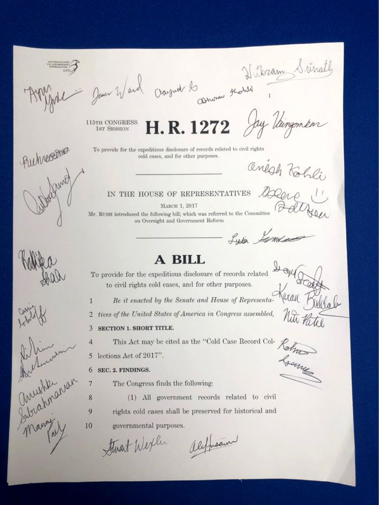 PHOTO: Students signed a copy of their bill which President Trump signed into law in January.