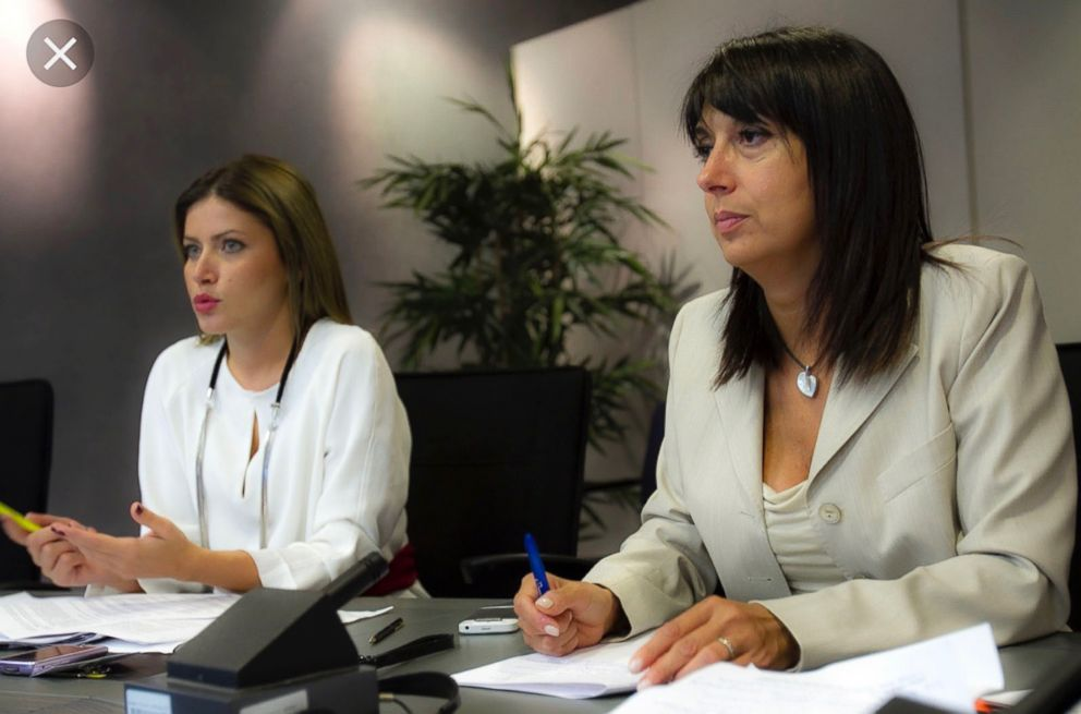 PHOTO: Simona Mangiante, left, seen here working in Strasbourg, France in 2014, said she used to work on international child custody and abduction cases in the European Parliament.